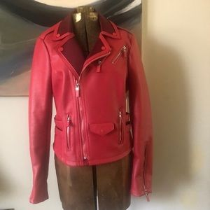 Red vegan leather biker jacket sz M by Express
